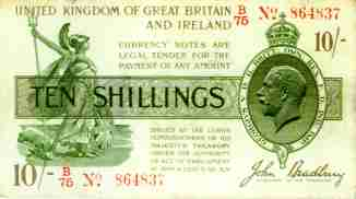 John Bradley                     ten shilling note of George V